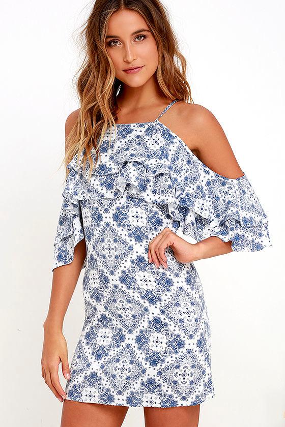 6a12737444a Cute Ivory and Blue Print Dress - Cold Shoulder Dress - Sheath Dress -   49.00
