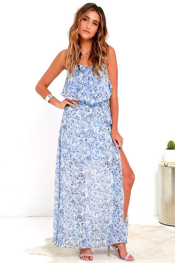 Petal Showers Blue Print Maxi Dress at Lulus.com!