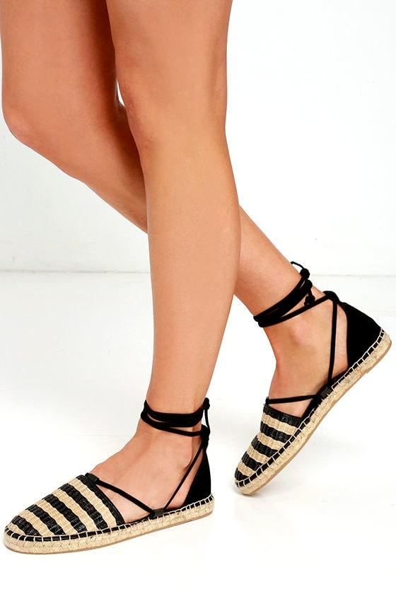 679d8724d Cute Black Flats - Lace-Up Flats - Espadrilles -  45.00