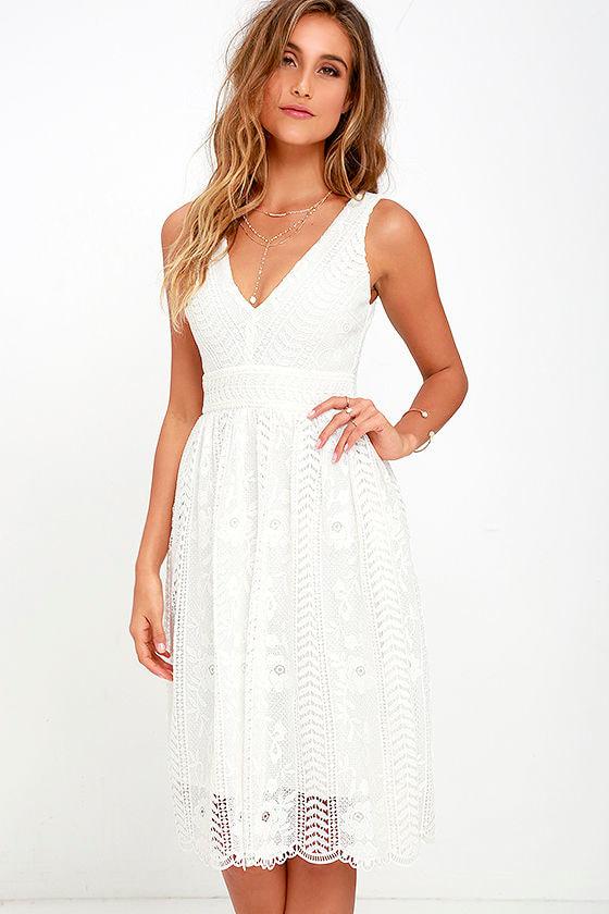 3297016933f Lace Dress - Ivory Dress - Midi Dress - White Dress -  68.00