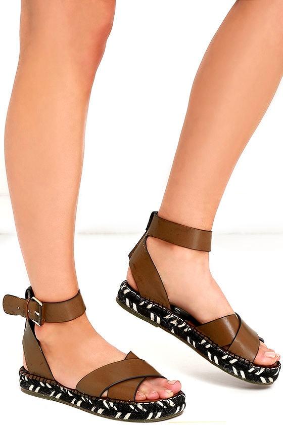 3d7f6fa59e29dc Cute Espadrille Sandals - Brown Sandals - Flat Sandals -  70.00