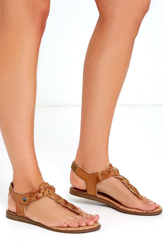 42329dd4f Cute Brown Sandals - Thong Sandals - Flat Sandals -  60.00
