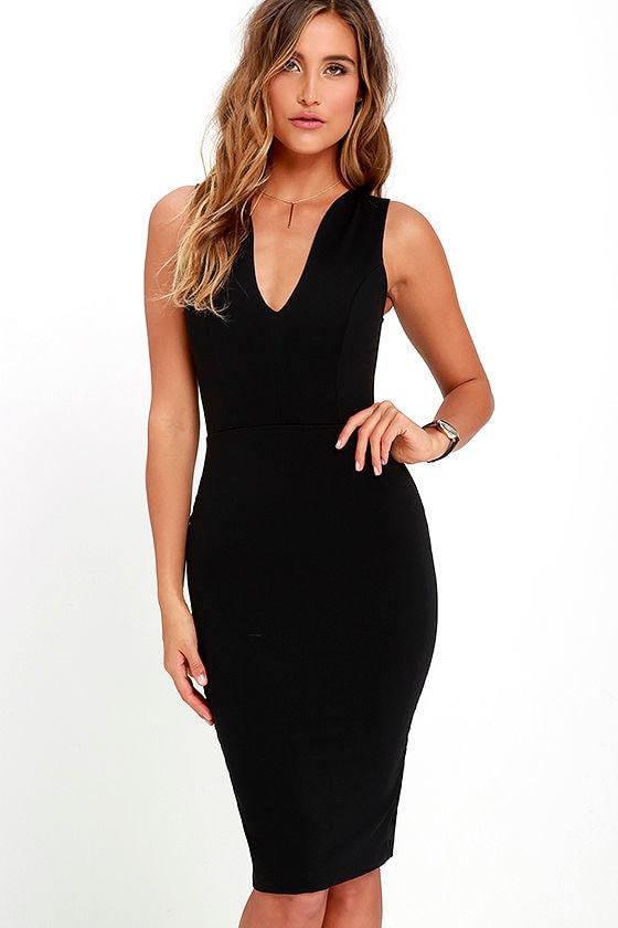 Quite Spectacular Black Midi Dress