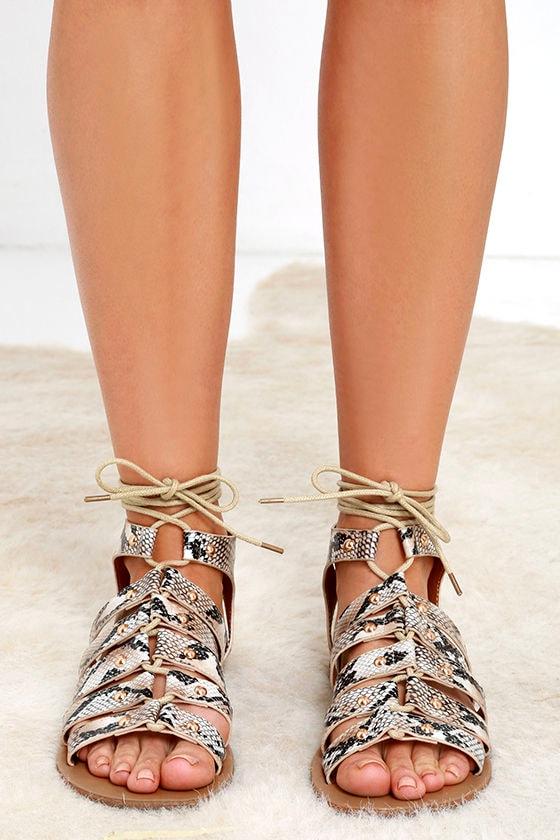 9edb91c96028fb Cute Snake Print Sandals - Lace-Up Sandals - Flat Sandals -  23.00