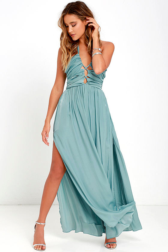Stunning Maxi Dress - Turquoise Blue Dress - Halter Dress - $82.00