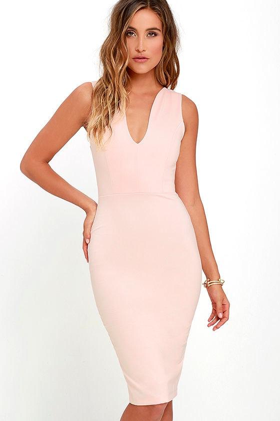 Blush bodycon midi dress