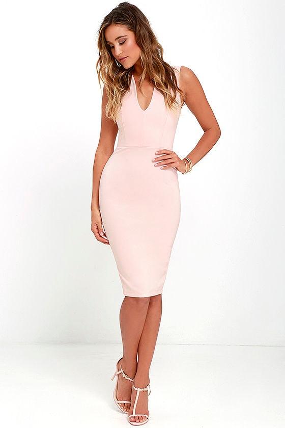 ce9852a6a788b Lovely Blush Pink Midi - Bodycon Dress - Pink Dress - $54.00