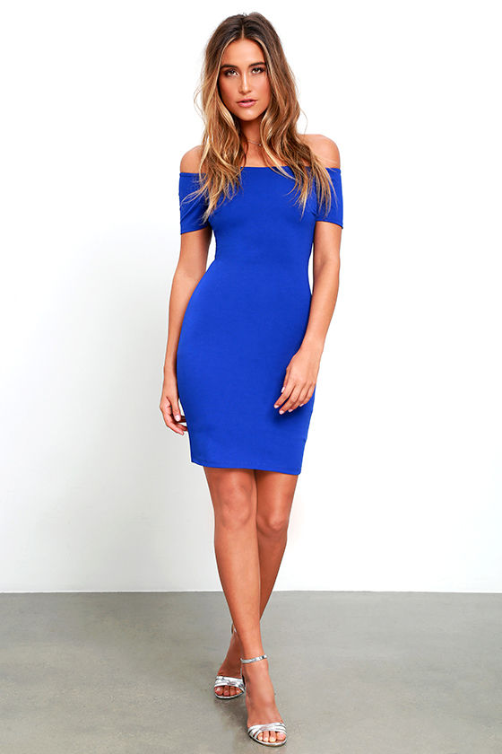 Sexy Royal Blue Dress - Off-the-Shoulder Dress - Bodycon Dress ...