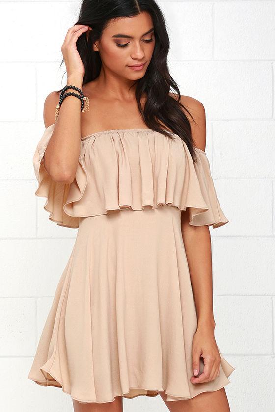 Fun Beige Dress - Off-the-Shoulder Dress - Woven Dress - $49.00