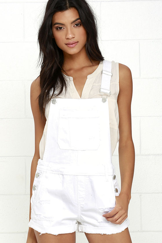 Blank NYC White Short Distressed Denim Overalls 1