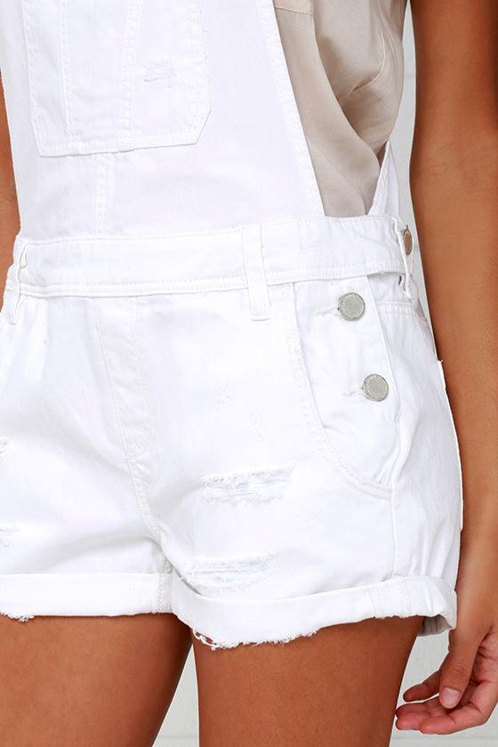 Blank NYC White Short Distressed Denim Overalls 5