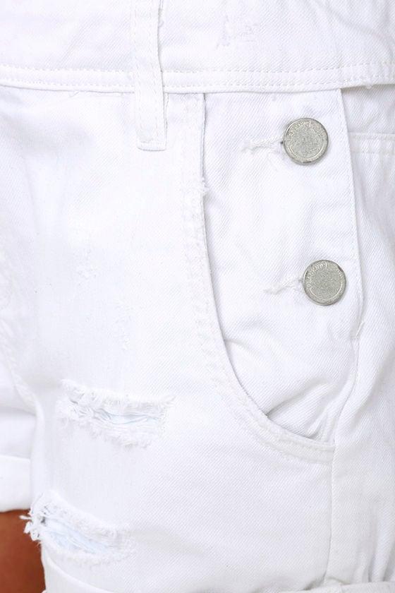 Blank NYC White Short Distressed Denim Overalls 6