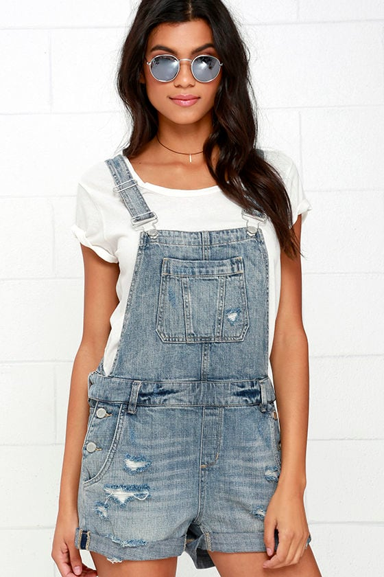 9285ef3e0a Blank NYC Short Overalls - Medium Wash Overalls - Distressed Overalls -   79.00