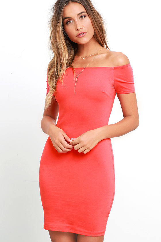 Sexy Coral Red Dress - Off-the-Shoulder Dress - Bodycon Dress - $49.00