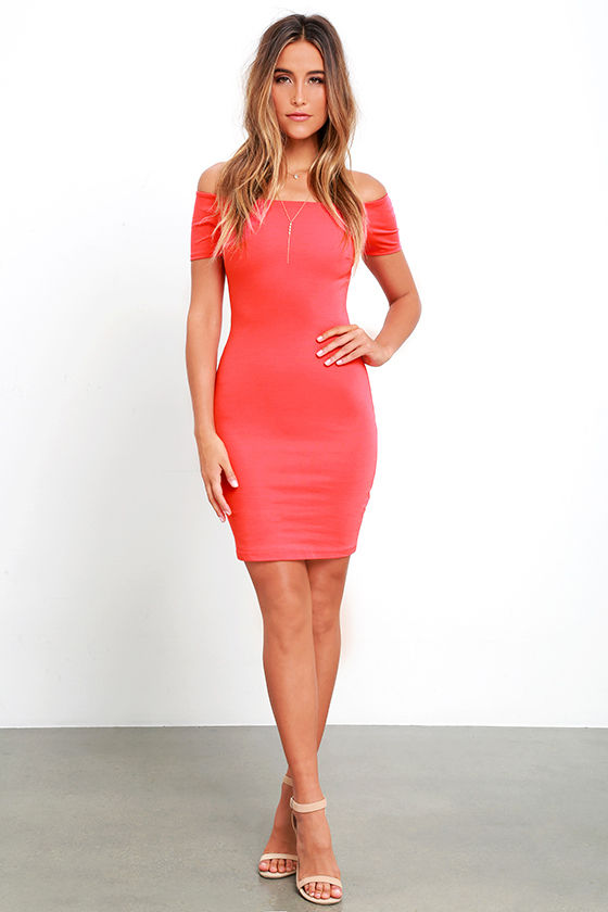 c4c50d6702 Sexy Coral Red Dress - Off-the-Shoulder Dress - Bodycon Dress -  49.00