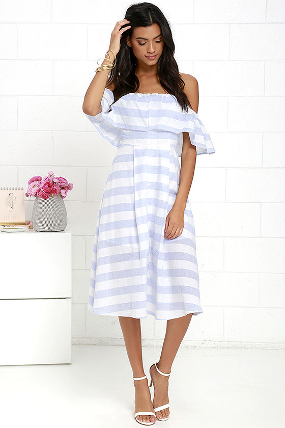 Classic Blue and Ivory Striped Dress - Off-the-Shoulder Dress ...