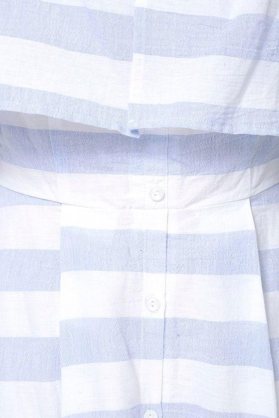 Transatlantic Voyage Blue and Ivory Striped Midi Dress 7