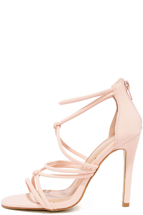 Classic Blush Heels - Vegan Nubuck Heels - Pink Dress Sandals - $34.00