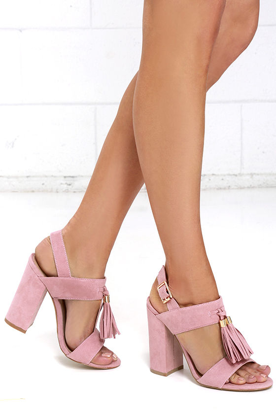 0ddb6d4c0117 Stylish Mauve Heels - Vegan Suede Heels - Tassel Heels -  43.00
