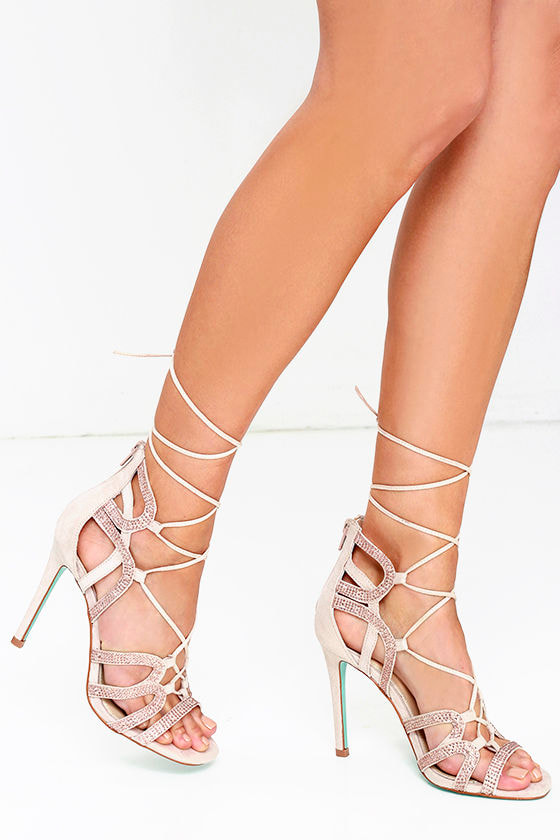 794aec4de3c0 Pretty Blush Heels - Rhinestone Heels - Dress Sandals -  149.00