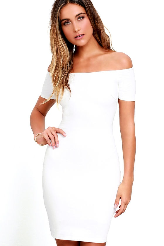Sexy White Dress - Off-the-Shoulder Dress - Bodycon Dress - White ...