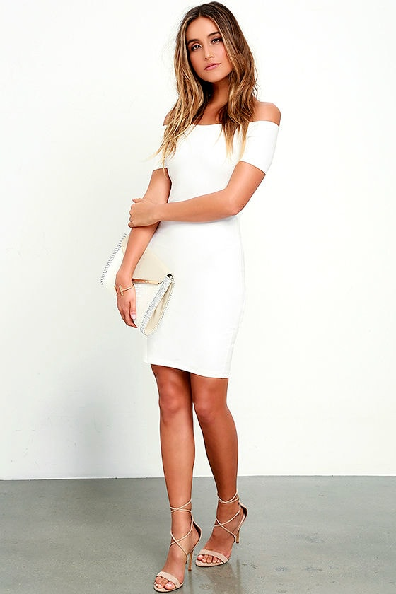 Me Oh My White Off-the-Shoulder Bodycon Dress 2477734c8