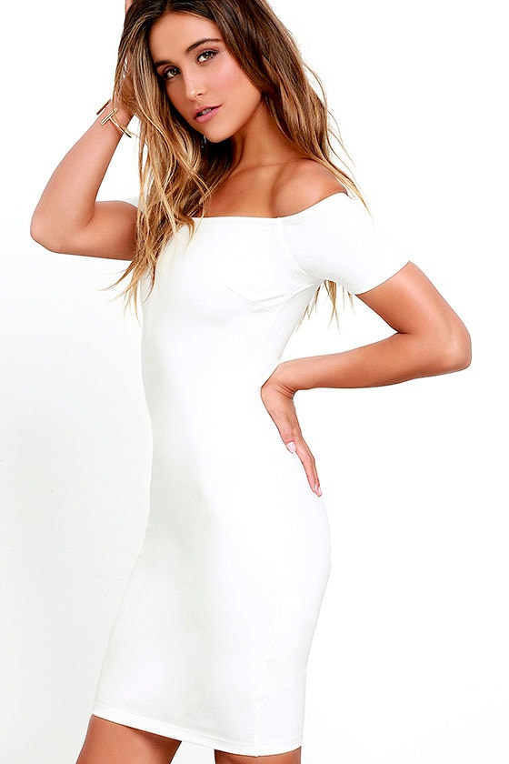 Me Oh My White Off-the-Shoulder Bodycon Dress 3