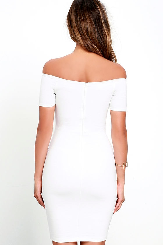 Me Oh My White Off-the-Shoulder Bodycon Dress 4