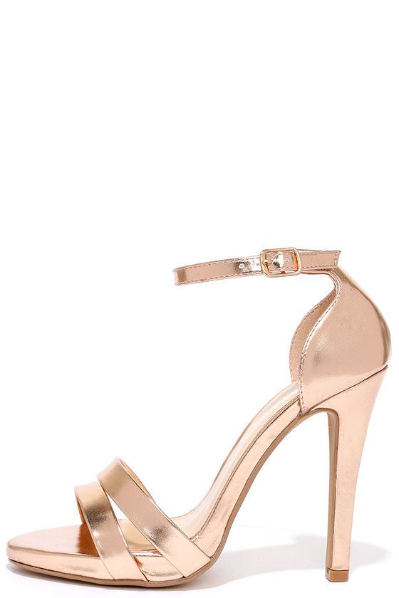e52c9af7f6d Sexy Rose Gold Heels - Vegan Leather Heels - Single Sole Heels -  34.00