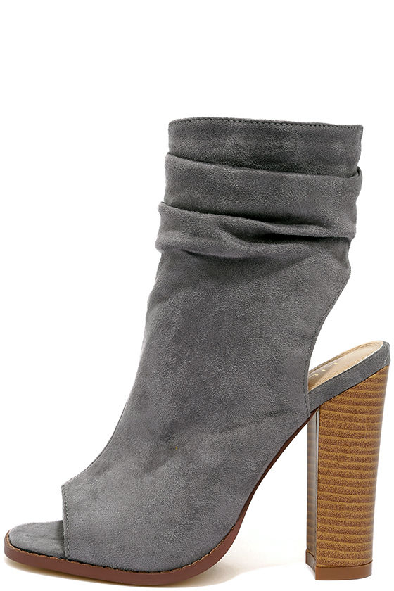 Only the Latest Grey Suede Peep-Toe Booties 2