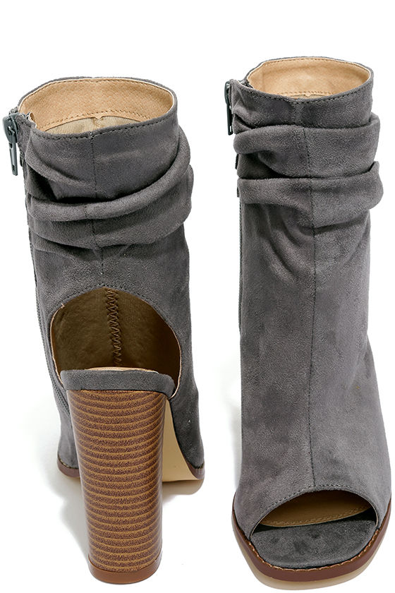 Only the Latest Grey Suede Peep-Toe Booties 3