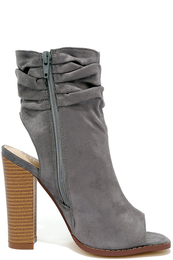 Only the Latest Grey Suede Peep-Toe Booties 4