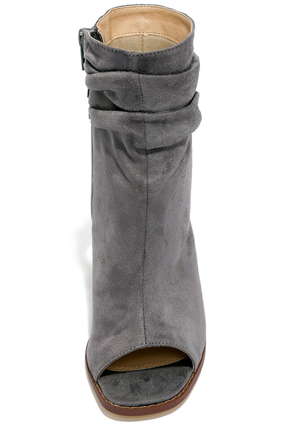 Only the Latest Grey Suede Peep-Toe Booties 5