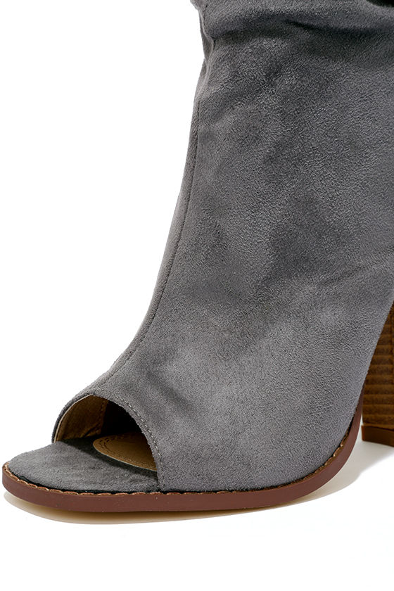 Only the Latest Grey Suede Peep-Toe Booties 6