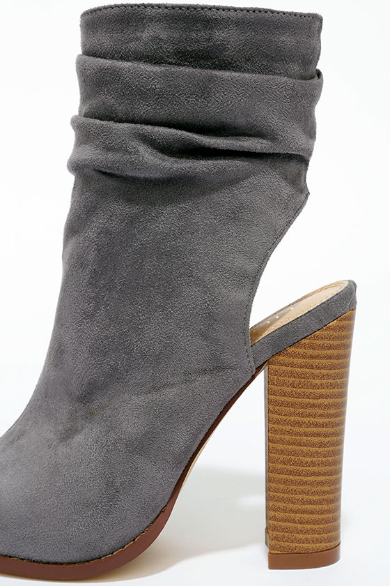 Only the Latest Grey Suede Peep-Toe Booties 7