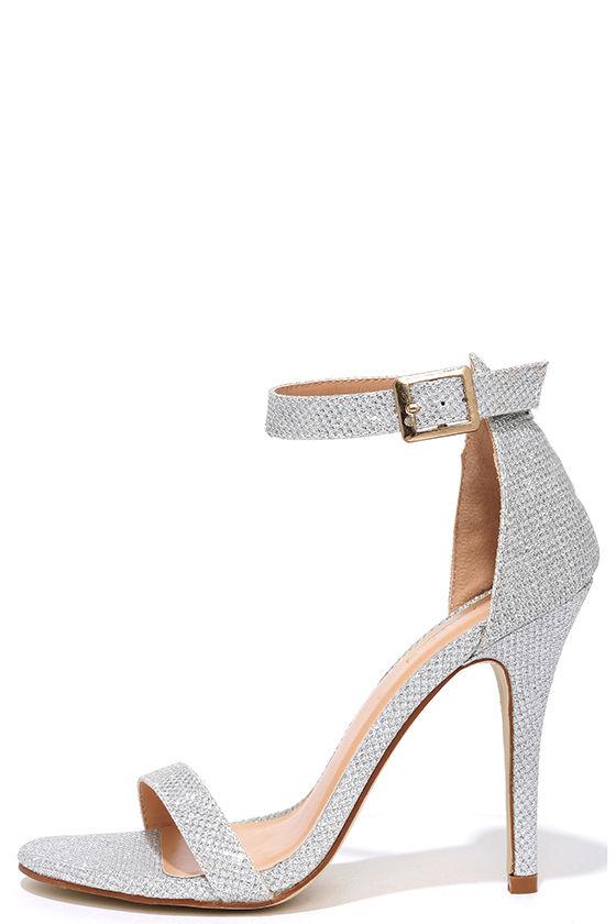 Silver Heels - Gold Heels - Glitter Heels - Ankle Strap Heels -  31.00 b37c3a68a7