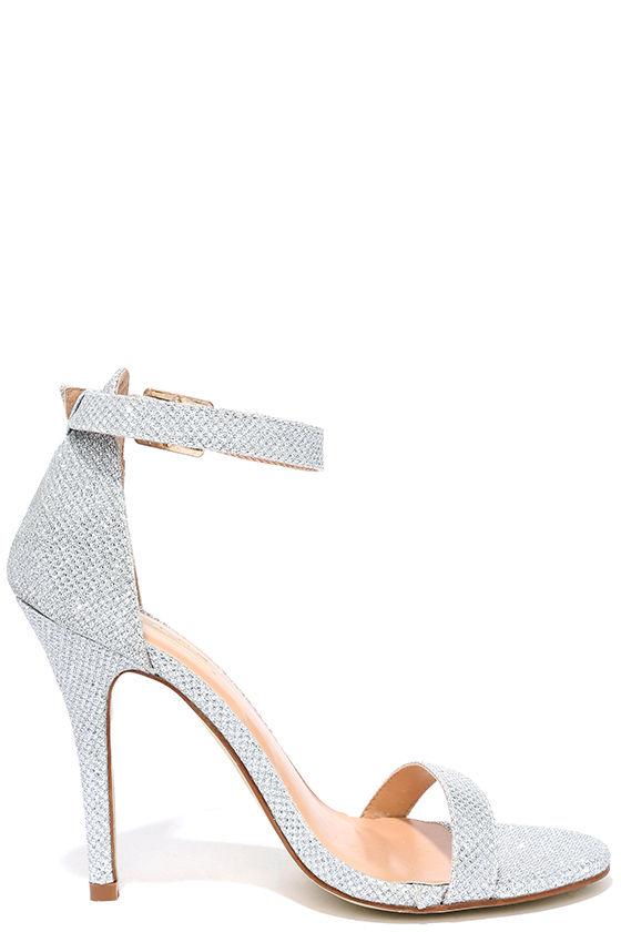 Silver Heels - Gold Heels - Glitter Heels - Ankle Strap Heels - $31.00