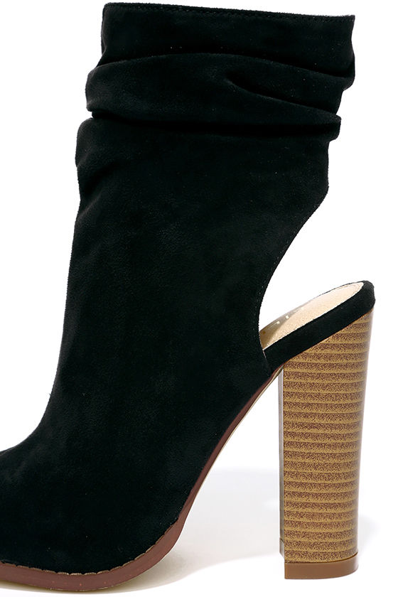 Only the Latest Black Suede Peep-Toe Booties 7