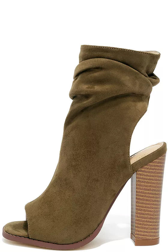 Only the Latest Olive Suede Peep-Toe Booties 1