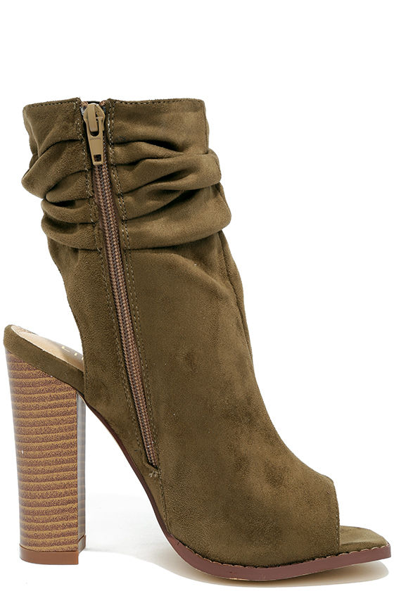 Only the Latest Olive Suede Peep-Toe Booties 4