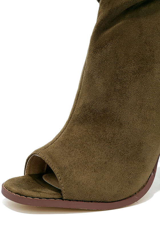 Only the Latest Olive Suede Peep-Toe Booties 6