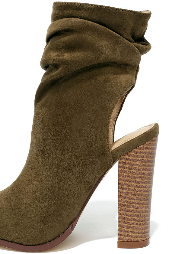Only the Latest Olive Suede Peep-Toe Booties 7