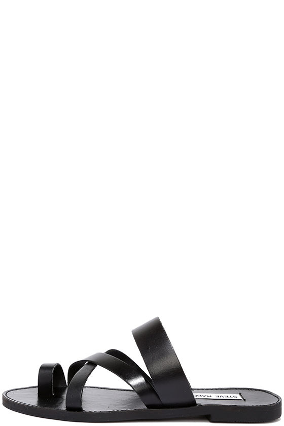 Cute Black Sandals Thong Sandals Slide Sandals Flat