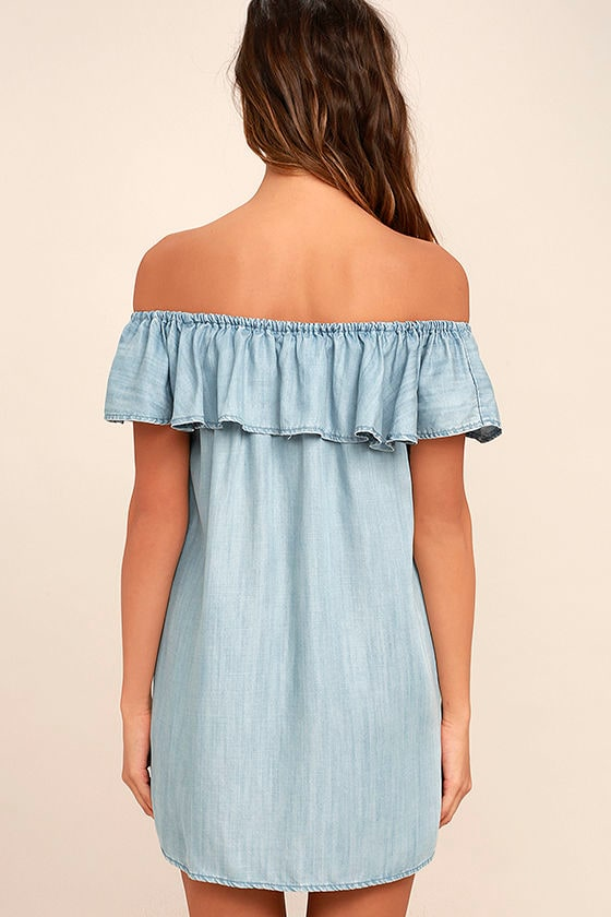 Standout Style Light Blue Chambray Off-the-Shoulder Dress 4