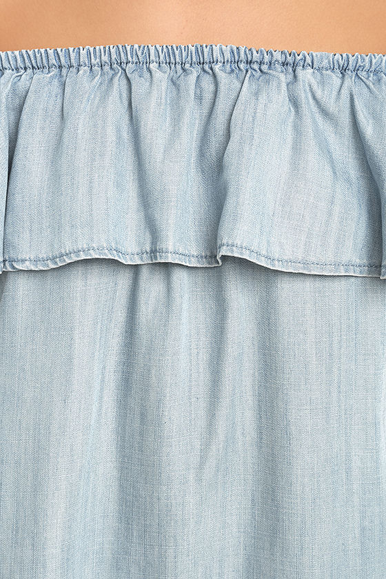 Standout Style Light Blue Chambray Off-the-Shoulder Dress 6