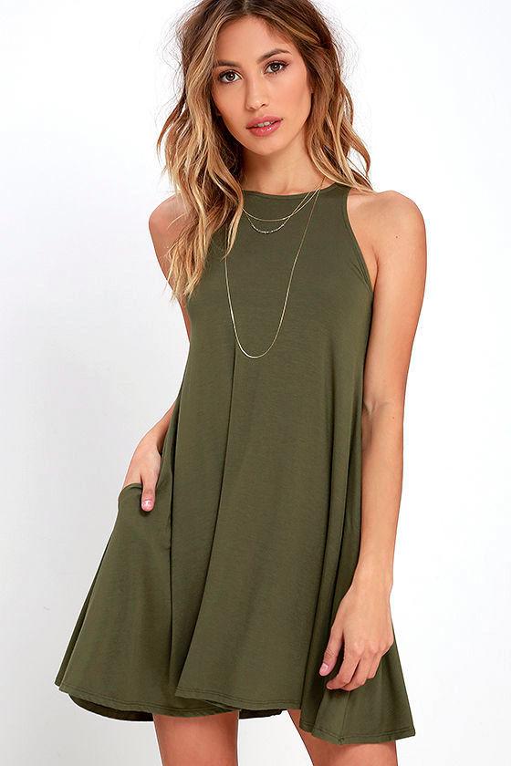 Tupelo Honey Olive Green Dress 1