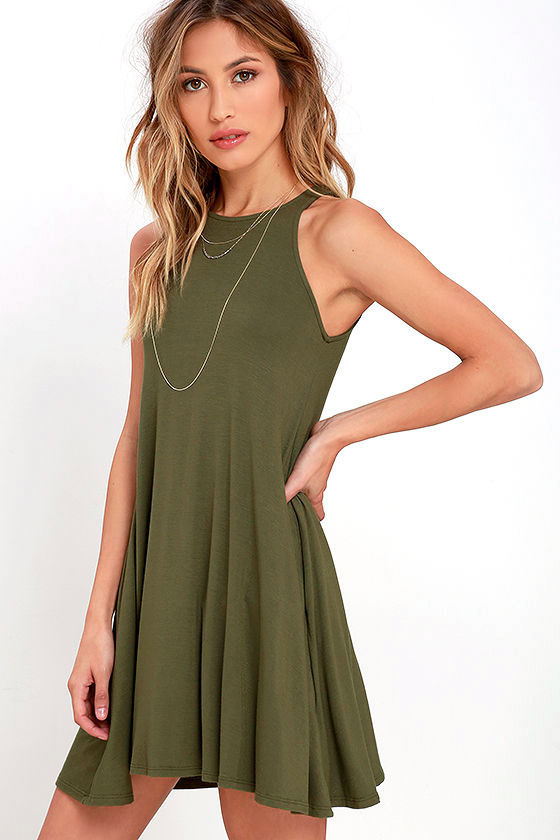 Chic Olive Green Dress - Sleeveless Dress - Trapeze Dress - $38.00