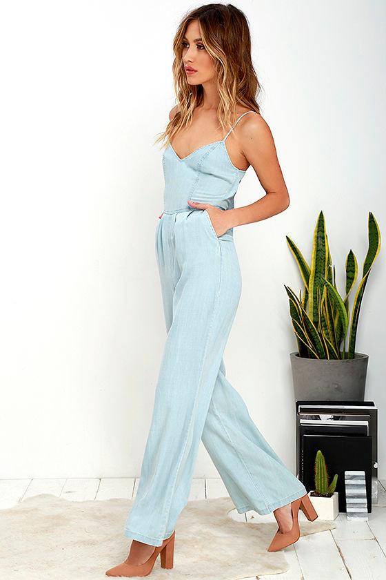 BB Dakota Elliot - Chambray Jumpsuit - Wide-Leg Jumpsuit - $103.00