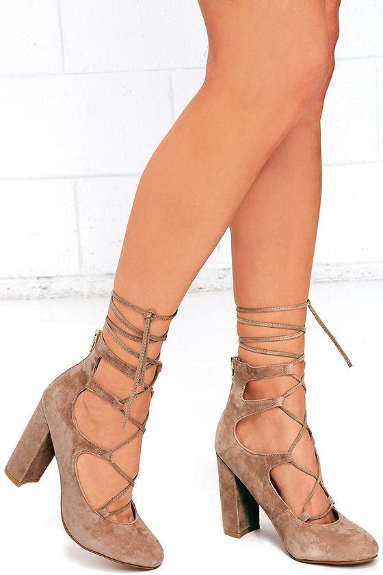 Cute Beige Heels - Lace-Up Heels