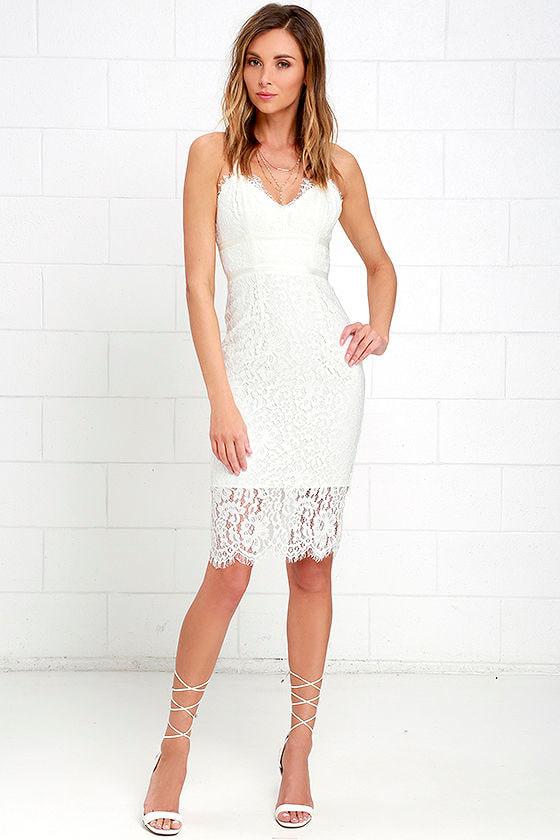 89325a83241 Stunning Ivory Dress - Lace Dress - Midi Dress - Sheath Dress -  68.00